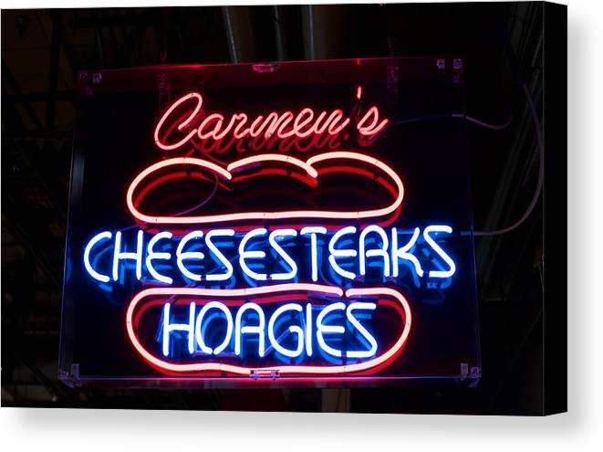 Canvas Print featuring the photograph Carmens Cheesesteaks by Ronald Watkins