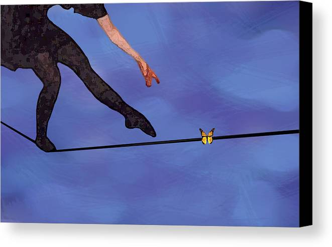 Surreal Canvas Print featuring the painting Catching Butterflies by Steve Karol