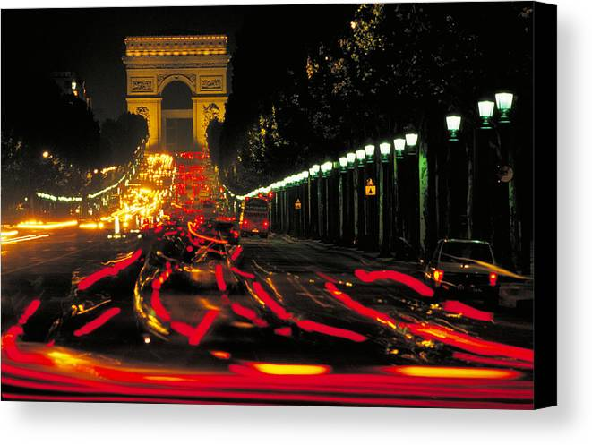 France Canvas Print featuring the photograph Champs Elysee In Paris by Carl Purcell