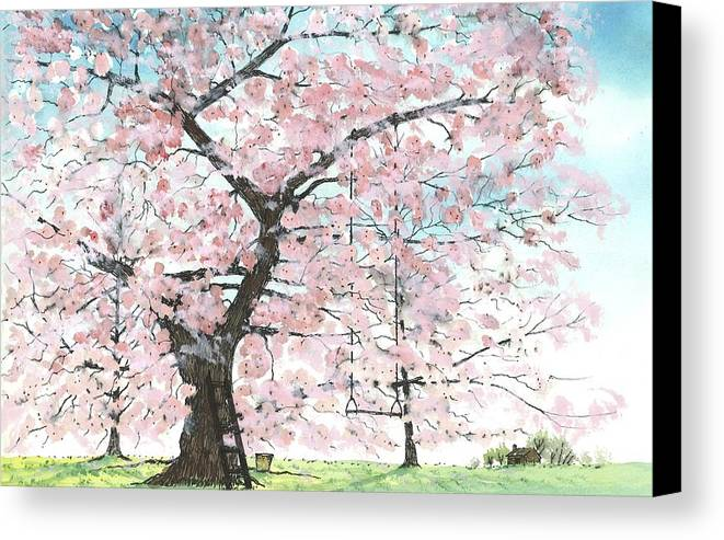 Cherry Trees Canvas Print featuring the painting Cherry Trees by Patrick Grills