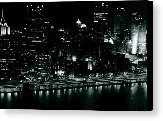 Landscape Canvas Print featuring the photograph City Lights by Chaz McDowell