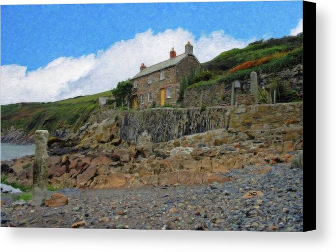Dean Wittle Canvas Print featuring the painting Cottage On Rocks At Port Quin - P4a16009 by Dean Wittle