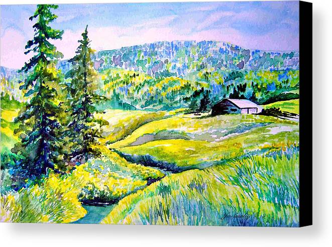 Arkansas Creek And Cottage Canvas Print featuring the painting Creek To The Cabin by Joanne Smoley