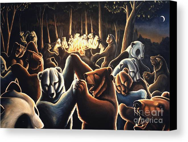 Bears Canvas Print featuring the painting Dancing Bears Painting by Kim Hunter