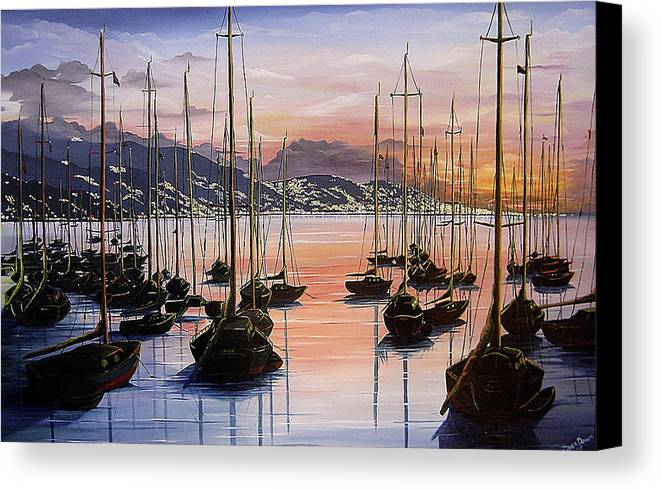 Seascape Painting Yacht Painting Harbour Painting Port Of Spain Trinidad And Tobago Painting Caribbean Painting Tropical Seascape Yachts  Painting Boats Dawn Breaking Greeting Card Painting Canvas Print featuring the painting Daybreak by Karin Dawn Kelshall- Best