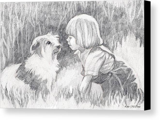 Pencil Canvas Print featuring the drawing Dog Whisperer by Liisa McInnis