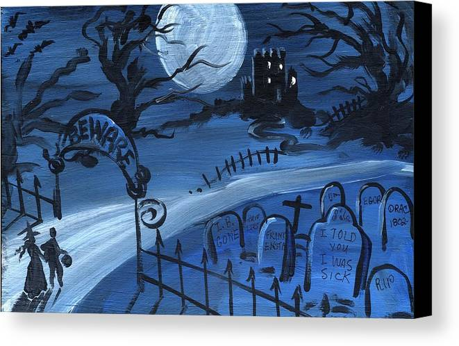 Halloween Canvas Print featuring the painting Dracula's Castle by Sylvia Pimental