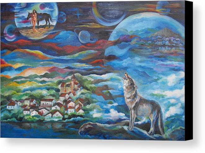Wolf Canvas Print featuring the painting Dream Wolf No 2 by Min Wang