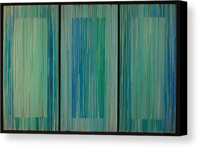 Abstract Canvas Print featuring the painting Drippings Triptych by Emily Page