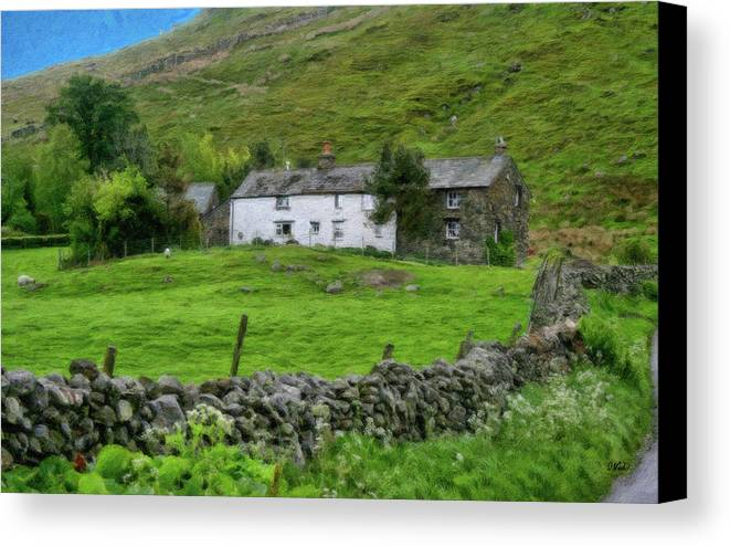 Dean Wittle Canvas Print featuring the painting Dry Stone Wall And White Cottage - P4a16022 by Dean Wittle