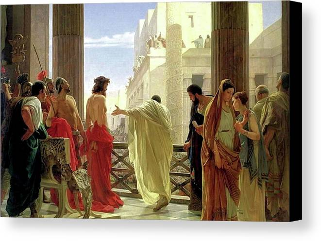 Behold The Man Canvas Print featuring the painting Ecce Homo by Antonio Ciseri