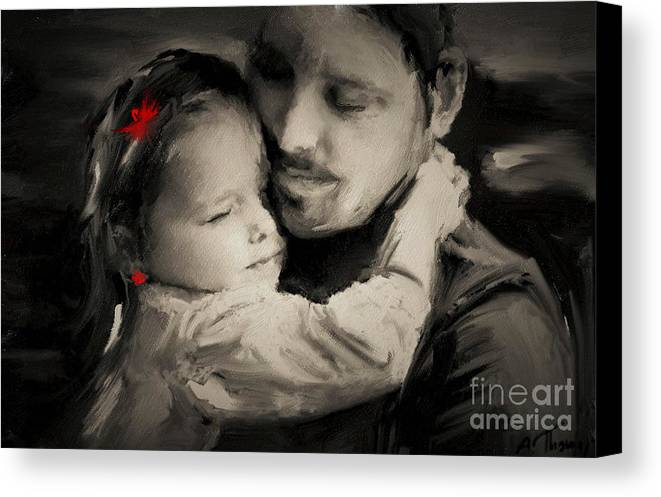 Father Canvas Print featuring the digital art Father And Daughter by Alex Thomas