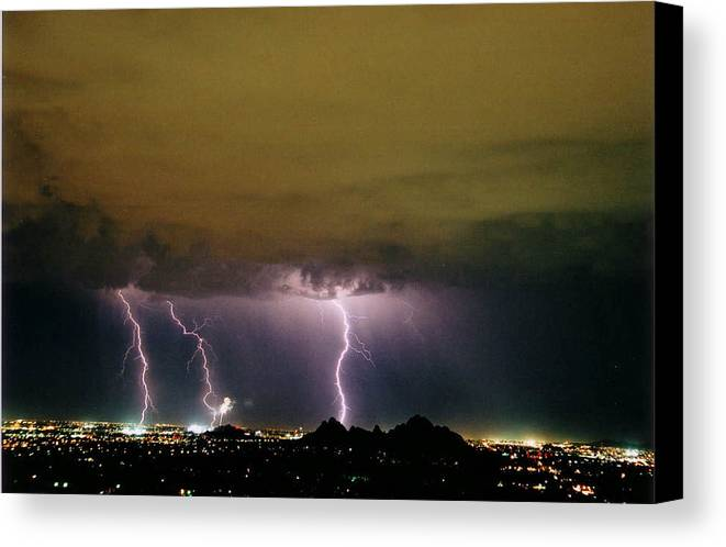 Lightning Canvas Print featuring the photograph Fireworks 1 by Cathy Franklin