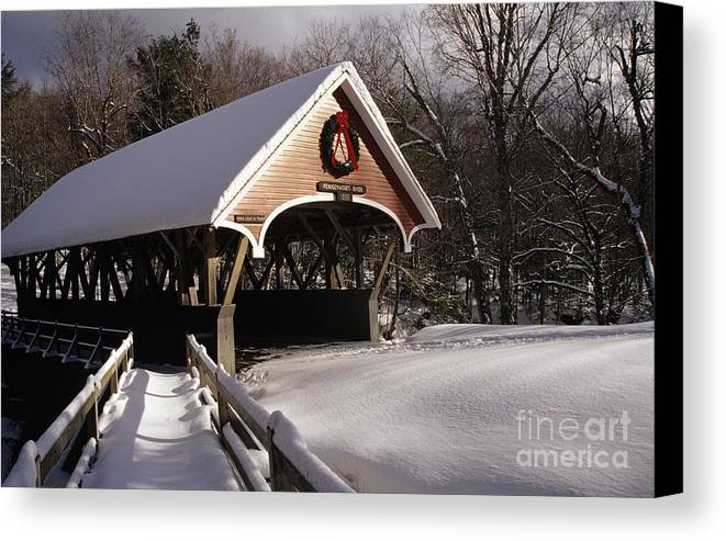 Franconia Notch State Park Canvas Print featuring the photograph Flume Covered Bridge - Lincoln New Hampshire Usa by Erin Paul Donovan