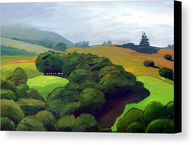 Fog. Trees. Landscape. Canvas Print featuring the painting Fog Comes In by Gary Coleman