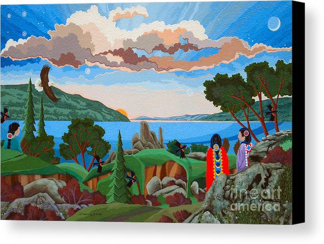 American Indian Painting Canvas Print featuring the painting From A High Place, Troubles Remain Small by Chholing Taha