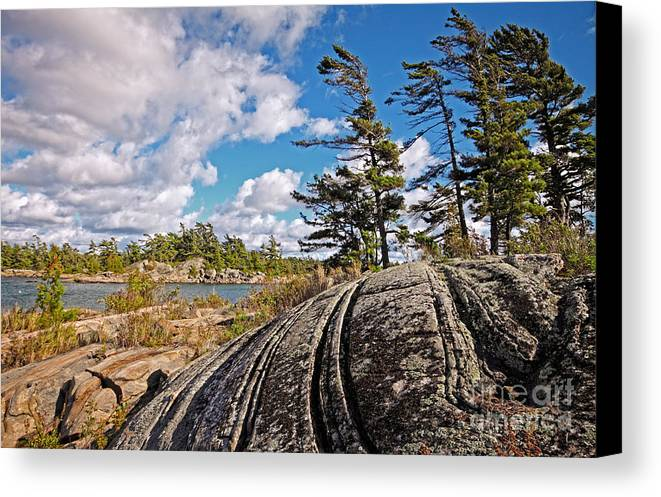 Georgian Bay; Landscape; Rock; Pine; Pine Tree; Metamorphic Rock; Cloud; Sky; Moody Sky; Dramatic Sky; Ontario; Franklin Island; Wilderness; Ontario; Canadian Shield; Georgian Bay Biosphere Reserve; Thirty Thousand Islands; Conservation; Remote; Rugged; Monochrome; Nobody; Canada Canvas Print featuring the photograph Georgian Bay Landscape Drama by Charline Xia