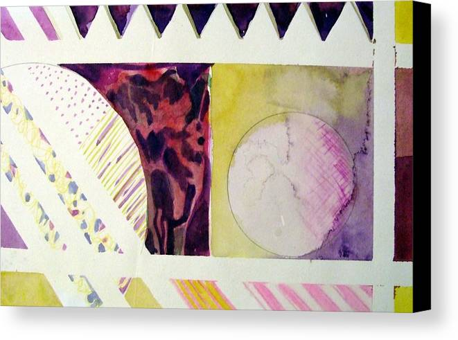 Abstract Canvas Print featuring the painting Grapes And Cheese Wedges by Mindy Newman