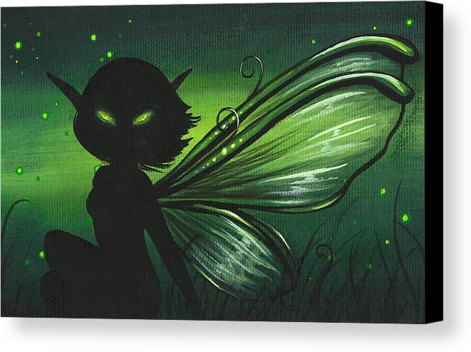 Fantasy Fairy Canvas Print featuring the painting Green Glow by Elaina Wagner