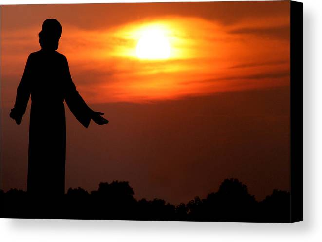 Jesus Canvas Print featuring the photograph Holy Sunset by Jason Hochman
