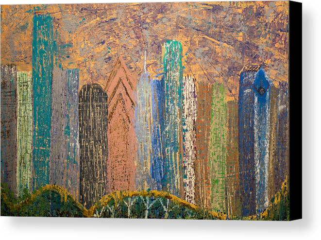 City Abstract Acrylic Metallics Canvas Print featuring the painting I Love Houston by Gabriela Montemayor