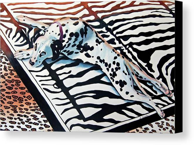 Animal/dog/dalmatian Canvas Print featuring the painting Incognito by Gail Zavala