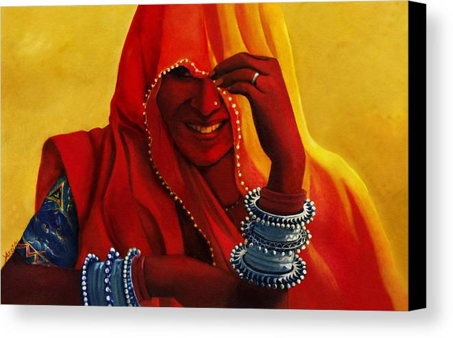 Indian Ethnic Canvas Print featuring the painting Indian Woman In Veil by Arti Chauhan