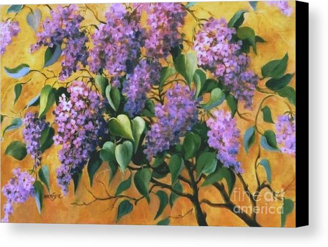 Flovers Canvas Print featuring the painting It Is Lilac Time 2 by Marta Styk