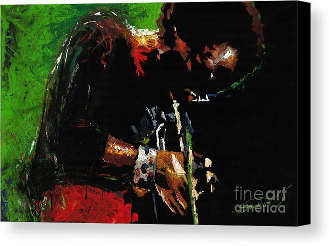 Jazz Canvas Print featuring the painting Jazz Miles Davis 1 by Yuriy Shevchuk