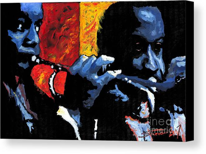 Jazz Canvas Print featuring the painting Jazz Trumpeters by Yuriy Shevchuk