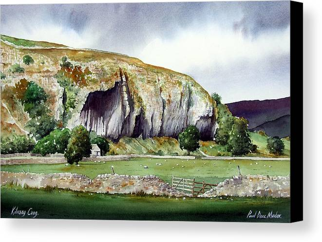 Landscape Canvas Print featuring the painting Kilnsey Crag by Paul Dene Marlor
