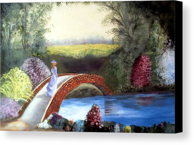 Landscape Canvas Print featuring the painting Lady On The Bridge by Julie Lamons