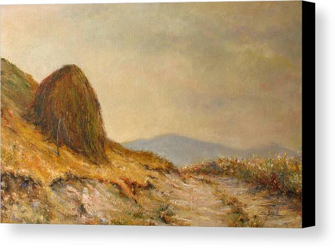 Armenia Canvas Print featuring the painting Landscape With A Hayrick by Tigran Ghulyan