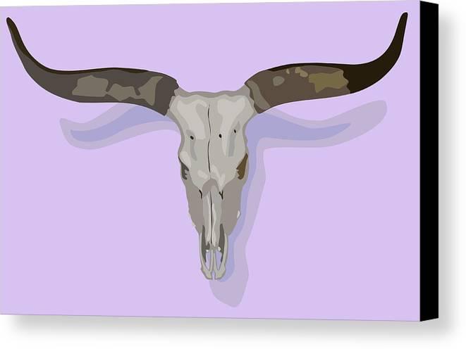 Skull Canvas Print featuring the digital art Longhorn Skull by Robert Bissett