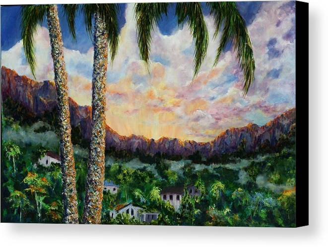 Landscape Hawaii Canvas Print featuring the painting Miller's View by Thomas Restifo