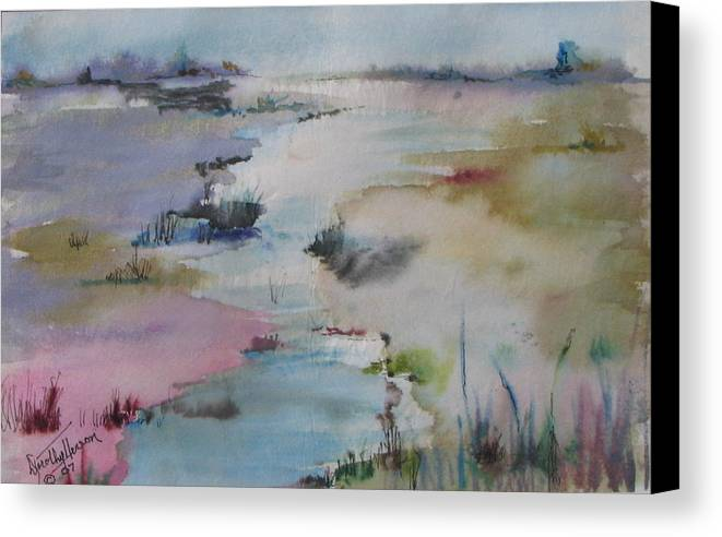 Landscape Canvas Print featuring the painting Misty Marsh by Dorothy Herron