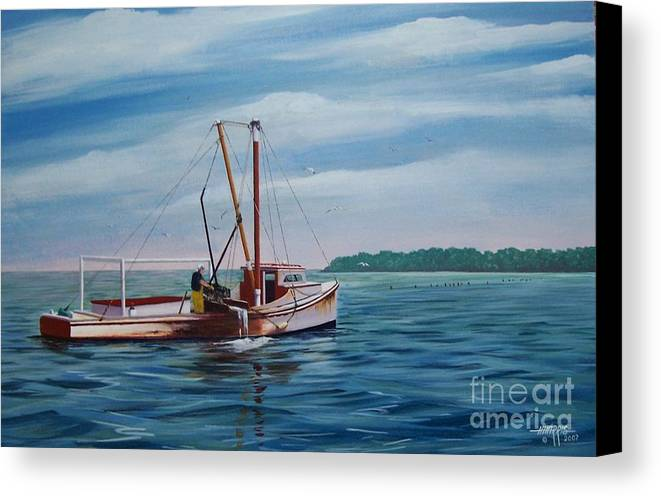 Chesapeake Bay Canvas Print featuring the painting Mobjack Waterman by Hugh Harris
