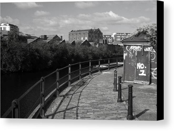 Jez C Self Canvas Print featuring the photograph Morning Canal Path by Jez C Self