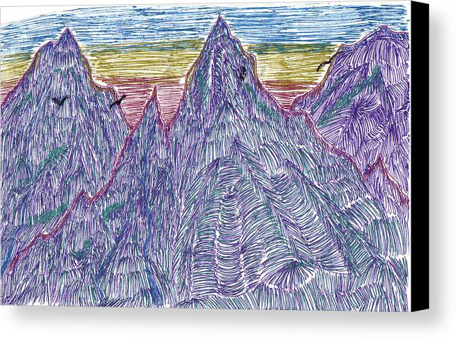 Canvas Print featuring the drawing Mountains by Lynnette Jones