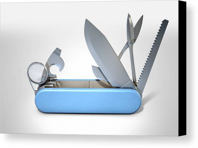 Knife Canvas Print featuring the digital art Multipurpose Penknife by Allan Swart