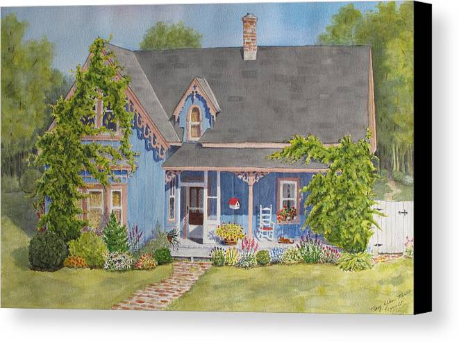 House Canvas Print featuring the painting My Blue Heaven by Mary Ellen Mueller Legault