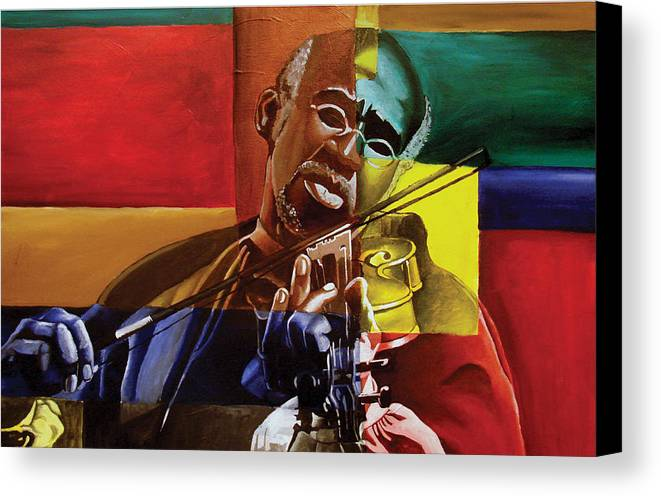 Black Art Canvas Print featuring the painting My Old Friend by Stacy V McClain