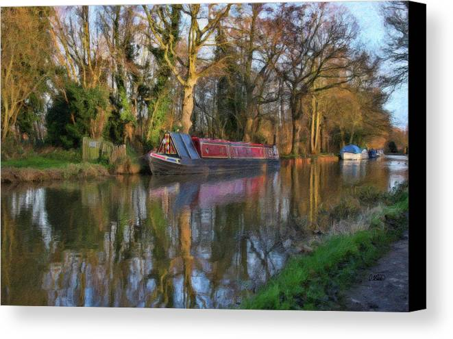 Dean Wittle Canvas Print featuring the painting Narrow Boat On Wey Navigation - P4a16008 by Dean Wittle