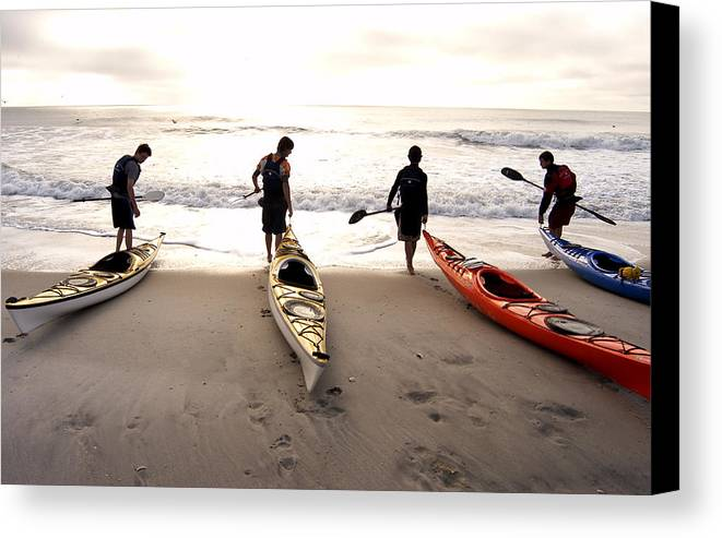 Kayaker Canvas Print featuring the photograph Nc Kayakers by Robert Ponzoni