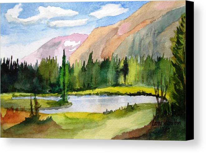 Watercolor Canvas Print featuring the painting Near Two Medicine Montana by Larry Hamilton