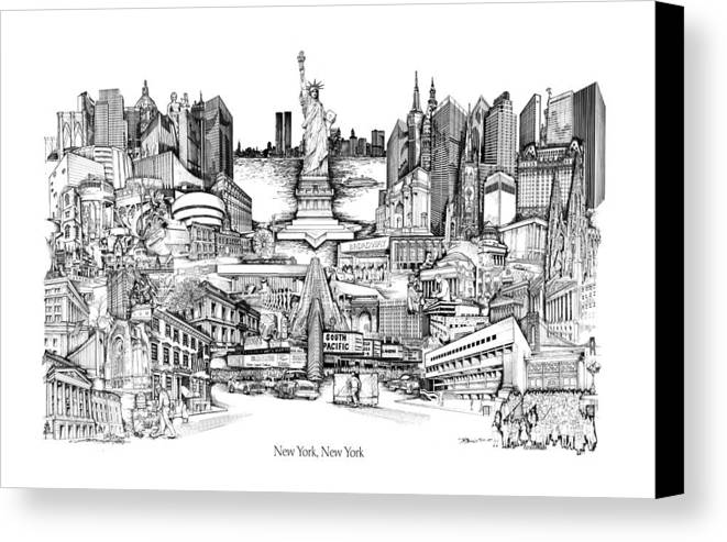 City Drawing Canvas Print featuring the drawing New York by Dennis Bivens