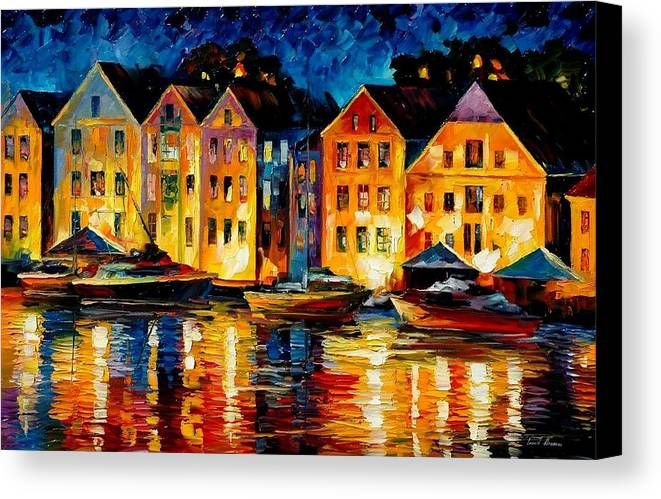 City Canvas Print featuring the painting Night Resting Original Oil Painting by Leonid Afremov