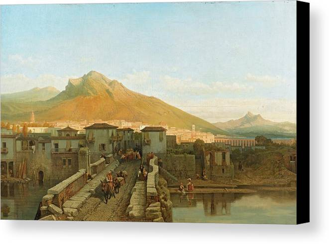 Fran�ois-antoine Bossuet ; View Of A City Canvas Print featuring the painting Northern Spain by Antoine Bossuet