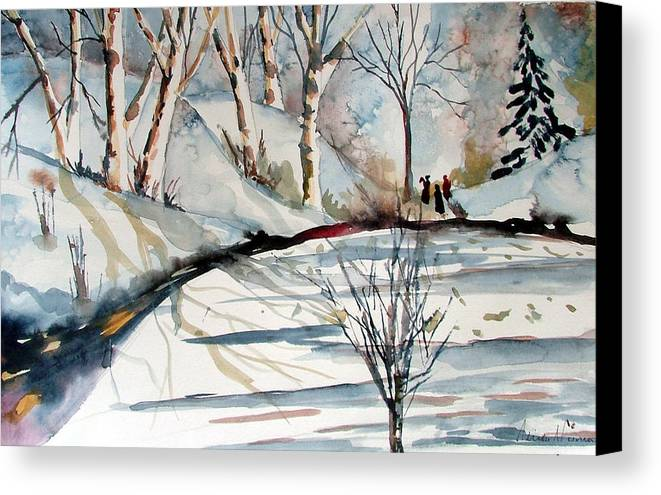 Winter Canvas Print featuring the painting O Holy Night by Mindy Newman