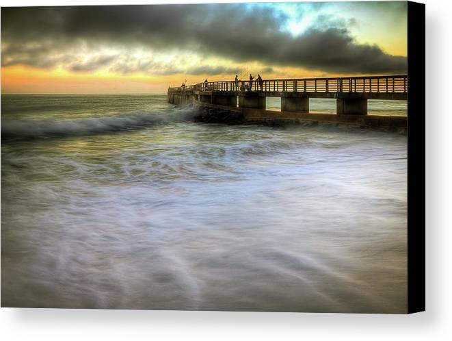 Ocean Canvas Print featuring the photograph Ocean Fishing Pier Sunrise by R Scott Duncan